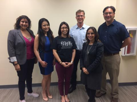 Left to right: Alums Meghana Reddy and Mary Grace Gardner, Christina-Marie Santillan (math staff member), alum Alexey Stomakhin, Roni Lavi (career counselor) and alum Adam Hudes.