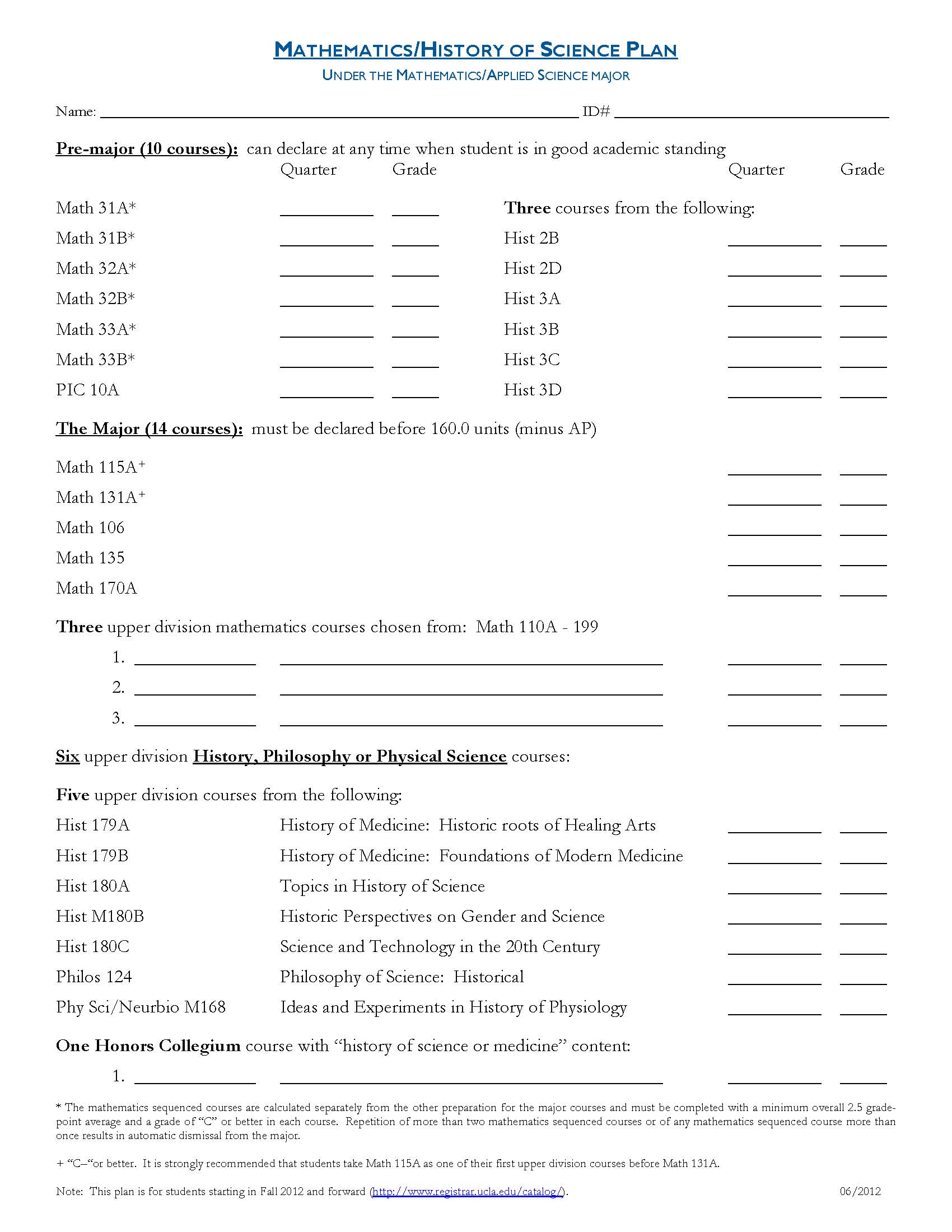 History of Science Plan - Mathematics/Applied Sciences   UCLA ...